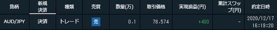 トライオートFXの取引画面